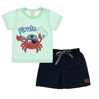 Conjunto Camiseta e Bermuda Little Pirate Verde- Fantoni