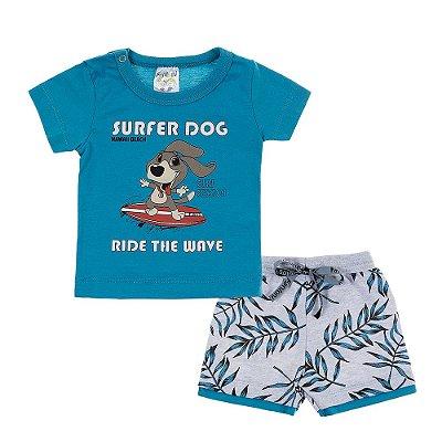 Conjunto Camiseta e Bermuda Super Dog Azul - Fantoni