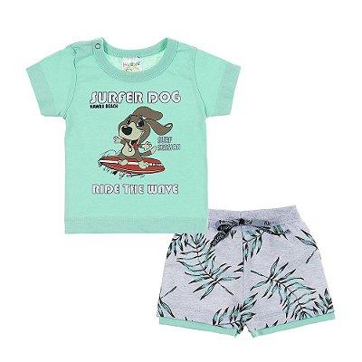 Conjunto Camiseta e Bermuda Super Dog Verde - Fantoni