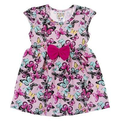 Body Vestido Cotton Folhas Rosa - Fantoni