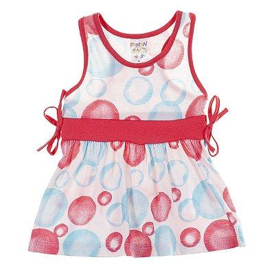 Vestido Regata Bolhas Rosa com Azul Piscina- Fantoni