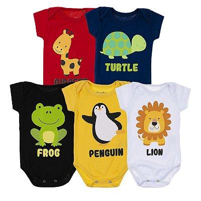 Kit Body Bebê 5 Peças Animais - Trenzinho