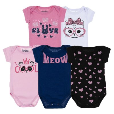 Kit Body Bebê 5 Peças Gatinho Meow - Trenzinho