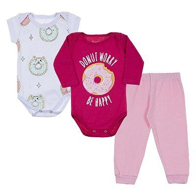 Kit Body Bebê 3 Peças Donut Worry - Trenzinho
