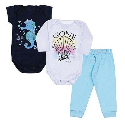 Kit Body Bebê 3 Peças Gone Beach - Trenzinho