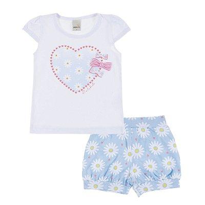 Conjunto Blusa Margarida com Aplique e Short Bombachinha Azul