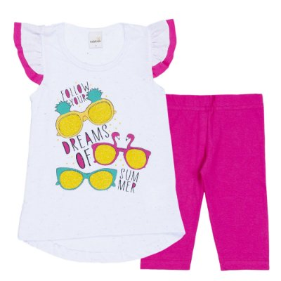 Conjunto Bata Dreams Branca e Legging Cotton