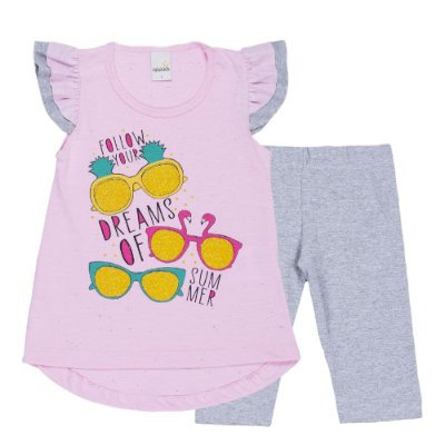 Conjunto Bata Dreams Rosa e Legging Cotton