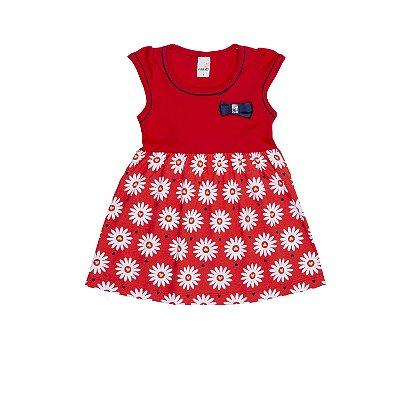 Vestido com Saia Estampada Vermelho