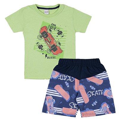 Conjunto Camiseta Cool Dude Verde e Bermuda Tactel