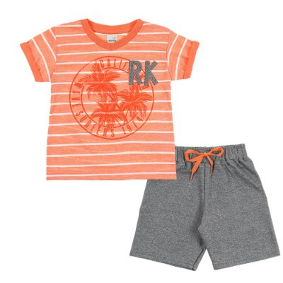 Conjunto Camiseta RK Laranja e Bermuda Moletinho