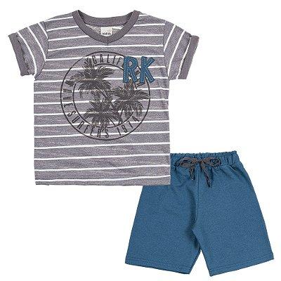 Conjunto Camiseta RK Cinza e Bermuda Moletinho