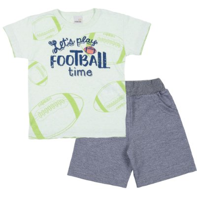 Conjunto Camiseta Football Verde e Bermuda Moletinho