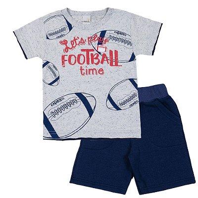 Conjunto Camiseta Football Marinho e Bermuda Moletinho