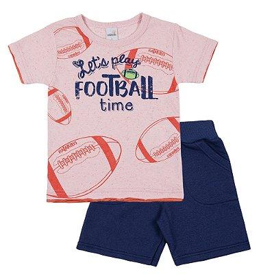 Conjunto Camiseta Football Laranja e Bermuda Moletinho