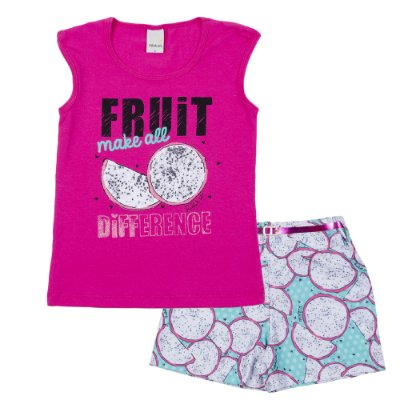 Conjunto Blusa Fruit Pink com Short Crepe