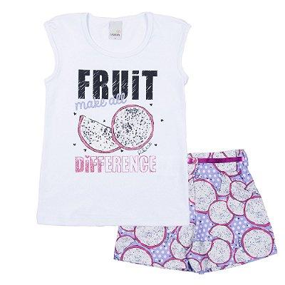 Conjunto Blusa Fruit Branca com Short Crepe