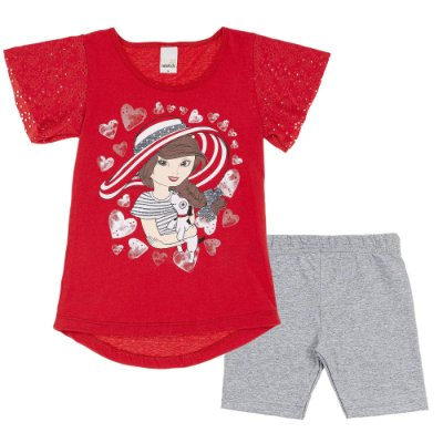 Conjunto Blusa Mullet Vermelha Cachorrinho e Bermuda Cotton