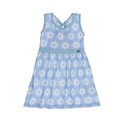 Vestido Margarida e Laço nas Costas Meia Malha estampado Azul