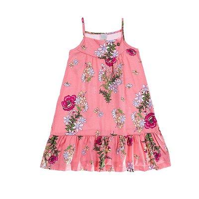 Vestido de Alcinha Meia Malha Estamapado Rosa