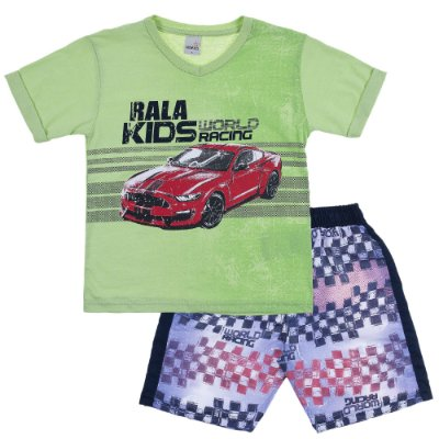 Conjunto Camiseta Gola V World Racing Verde e Bermuda Tactel