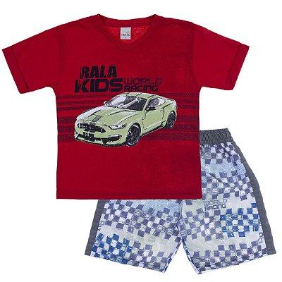 Conjunto Camiseta Gola V World Racing Vermelho e Bermuda Tactel