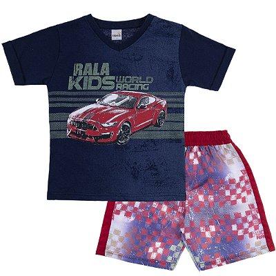Conjunto Camiseta Gola V World Racing Marinho e Bermuda Tactel