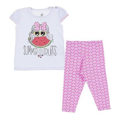 Conjunto Bata Summer e Legging Cotton Estampado Rosa
