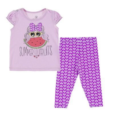 Conjunto Bata Summer e Legging Cotton Estampado Roxo