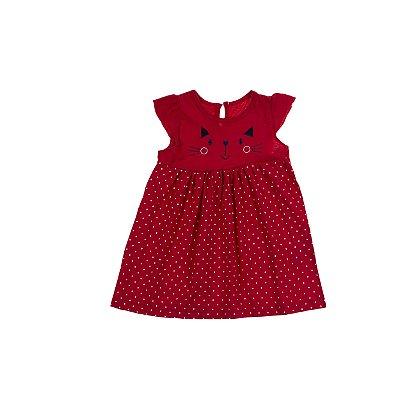 Vestido Gatinho Meia Malha com Saia Estampa Poá Vermelho