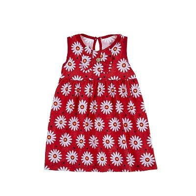 Vestido com Laço Margaridas Vermelho