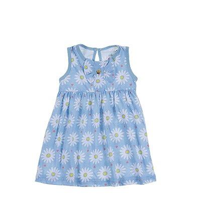 Vestido com Laço Margaridas Azul Piscina
