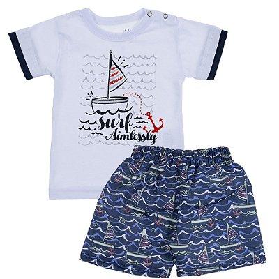 Conjunto Camiseta Meia Malha Boat Branco e Bermuda Tactel