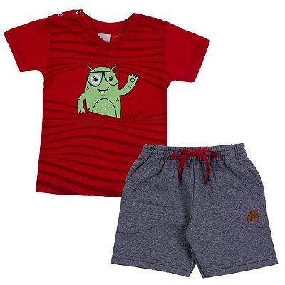 Conjunto Camiseta Gola V Monster Vermelho e Bermuda Moletinho Moline