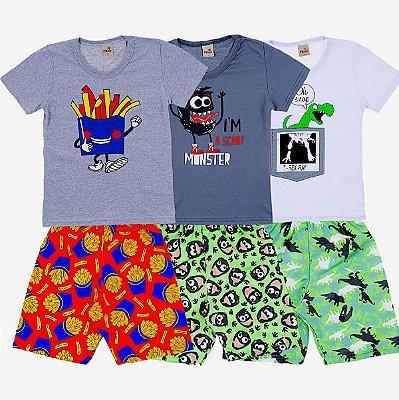 Kit 3 Conjuntos Camiseta e Short Verão Monster Dino - Pitico
