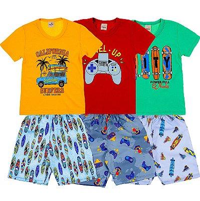 Kit 3 Conjuntos Camiseta e Short Verao Surf e Game - Pitico