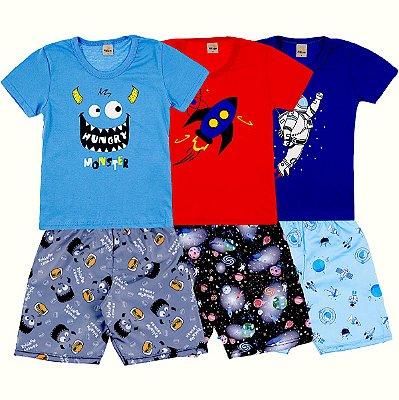 Kit 3 Conjuntos Camiseta e Short Verao Hungry Space - Pitico