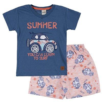 Conjunto Camiseta Summer Azul e Bermuda Moletinho