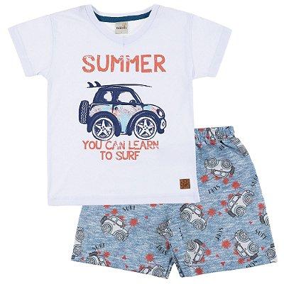 Conjunto Camiseta Summer Branca e Bermuda Moletinho