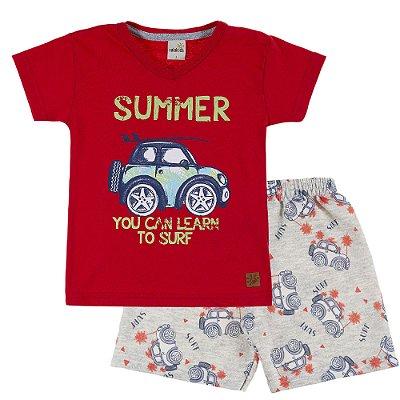 Conjunto Camiseta Summer Vermelho e Bermuda Moletinho