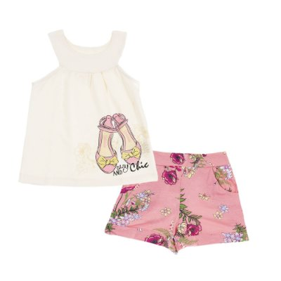 Conjunto Bata Chic Branca e Short Estampado Floral Rosa