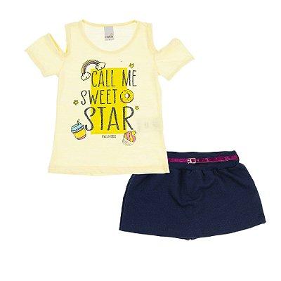 Conjunto Regata Sweet Star Amarela e Short Saia Moletinho