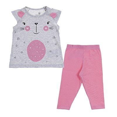 Conjunto Blusa Raglan Com Orelinha Mescla Pink e Legging Cotton Rosa