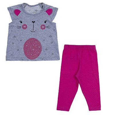 Conjunto Blusa Raglan Com Orelinha Mescla e Legging Cotton Vermelha Pitaya