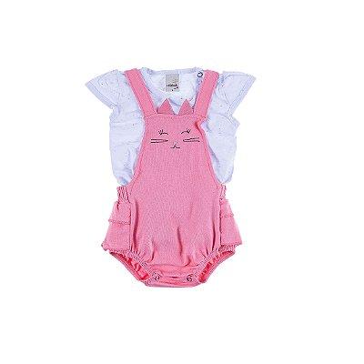 Macaquinho Cotton Gatinho com Babados Pink Blusa Branca Botone