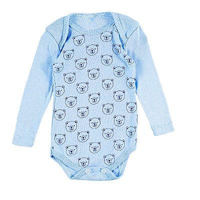 Body Bebê Ursinhos Azul Claro Manga Longa - Bacci