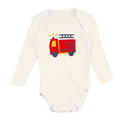 Body Bebê Caminhão Bombeiros Branco e Vermelho - Bacci
