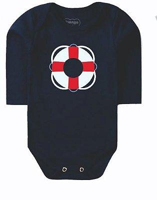 Body Bebê Boia Marinheiro Manga Longa Marinho - Bacci