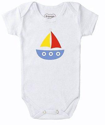 Body Bebê Barquinho Colorido e Branco - Bacci