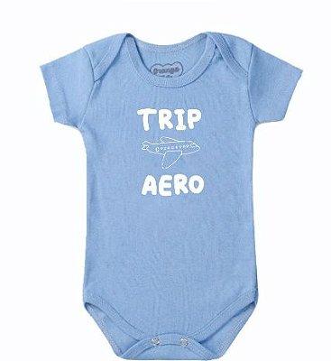 Body Bebê Aviao Trip Aero Azul Claro- Bacci